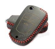 Чехол на выкидной ключ Шевроле кожаный 3 кнопки, черный