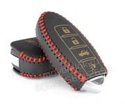 Чехол для смарт ключа Инфинити кожаный 4 кнопки, черный