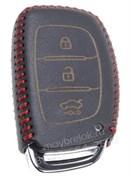 Чехол для смарт ключа Киа кожаный 3 кнопки, ix25 серия, черный