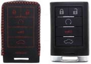 Чехол для смарт ключа Кадиллак кожаный 5 кнопок, черный