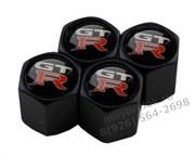 Колпачки на ниппель Ниссан GtR (шестигр. черн) комплект 4шт