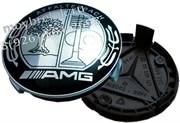 Колпачки в диск Мерседес AMG (75 мм) Аффалтербах черно-белые