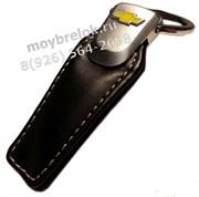 Брелок Шевроле для ключей кожаный (q-type), выпуклая эмблема