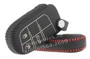 Чехол для смарт ключа Джип кожаный 3 кнопки, черный