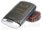 Чехол для смарт ключа Кадиллак кожаный 3 кнопки, синий