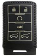 Чехол для смарт ключа Кадиллак кожаный 6 кнопок, черный
