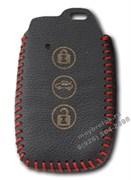 Чехол для смарт ключа Митсубиси кожаный 3 кнопки, красный