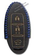 Чехол для смарт ключа Ниссан кожаный 3 кнопки, синий