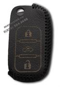 Чехол на выкидной ключ Шкода кожаный (дорестайл), черный