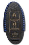 Чехол для смарт ключа Инфинити кожаный 3 кнопки, синий
