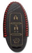 Чехол для смарт ключа Инфинити кожаный 3 кнопки, красный
