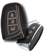 Чехол для смарт ключа Киа кожаный 3 кнопки, ix45 серия, черный