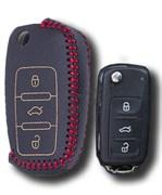 Чехол на выкидной ключ Фольксваген кожаный (дорестайл), красный