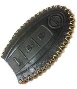 Чехол для смарт ключа Ниссан (3 кноп) мягкая натуральная кожа, черный