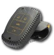 Чехол на выкидной ключ Шевроле кожаный 4 кнопки, черный