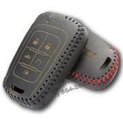 Чехол на выкидной ключ Шевроле кожаный 5 кнопок, черный