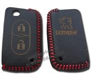 Чехол на выкидной ключ Пежо кожаный 2 кнопки, красный